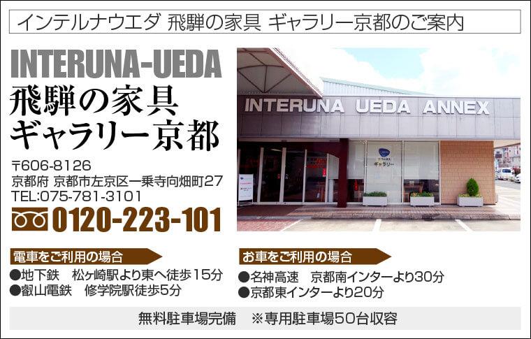 インテルナウエダ 飛騨の家具 ギャラリー京都へのアクセス