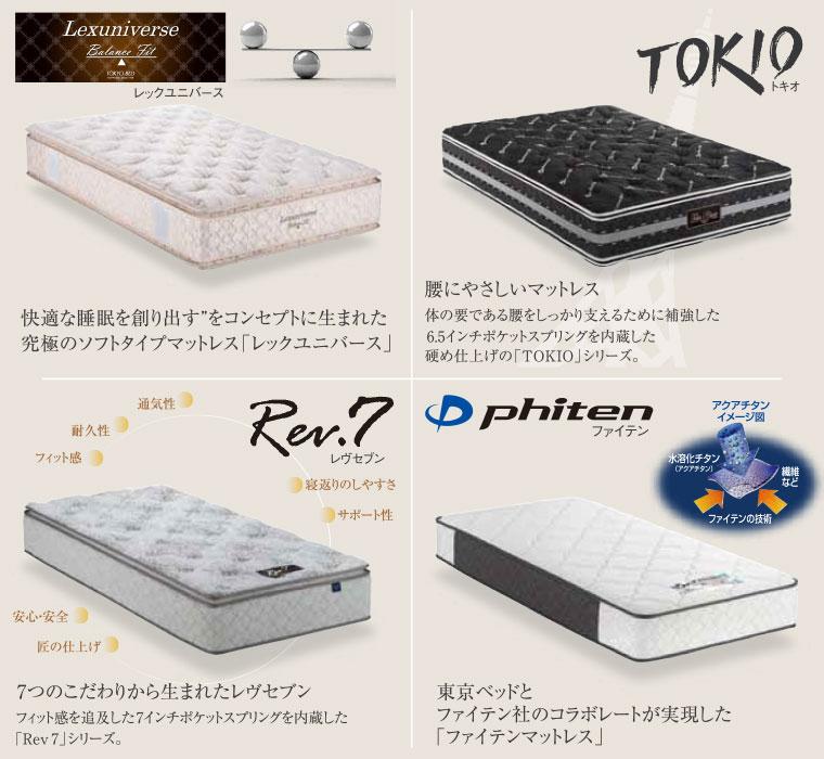 東京ベッドのマットレスラインナップ