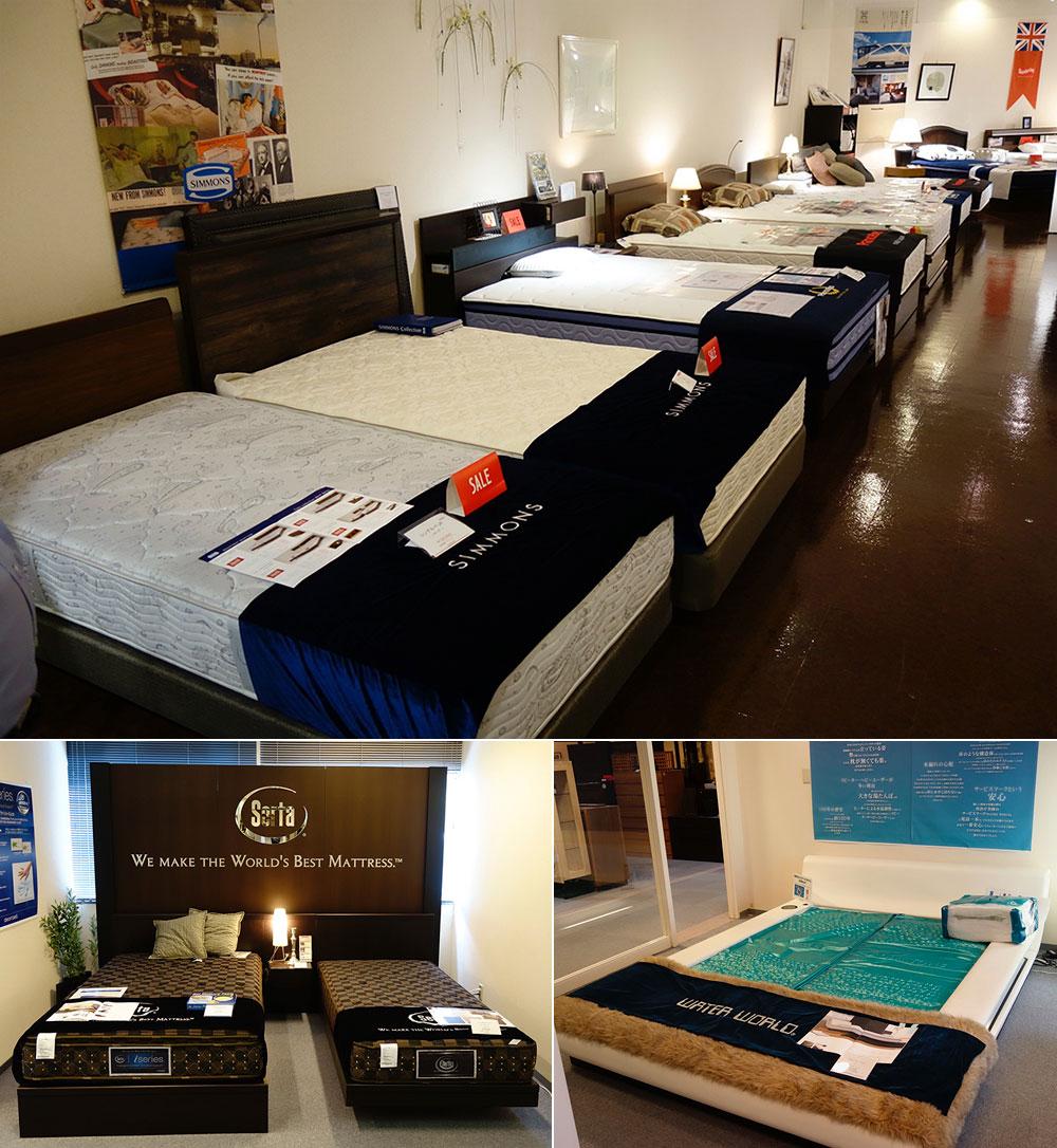 「シモンズ」「フランスベッド」「サータ」「ルフ」「日本ベッド」など