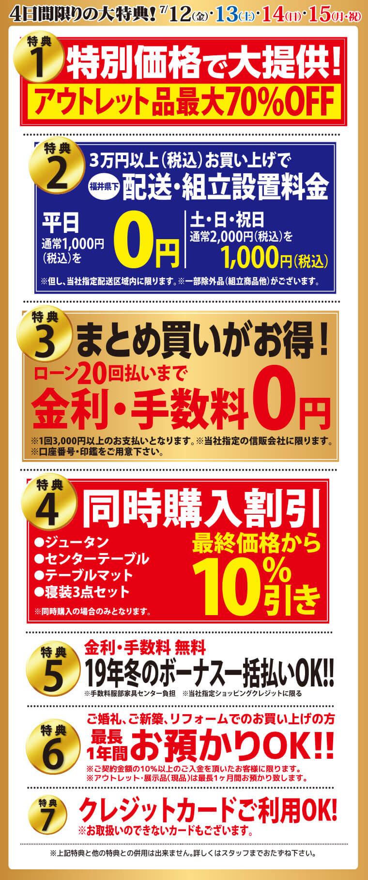 福井鯖江店の特典